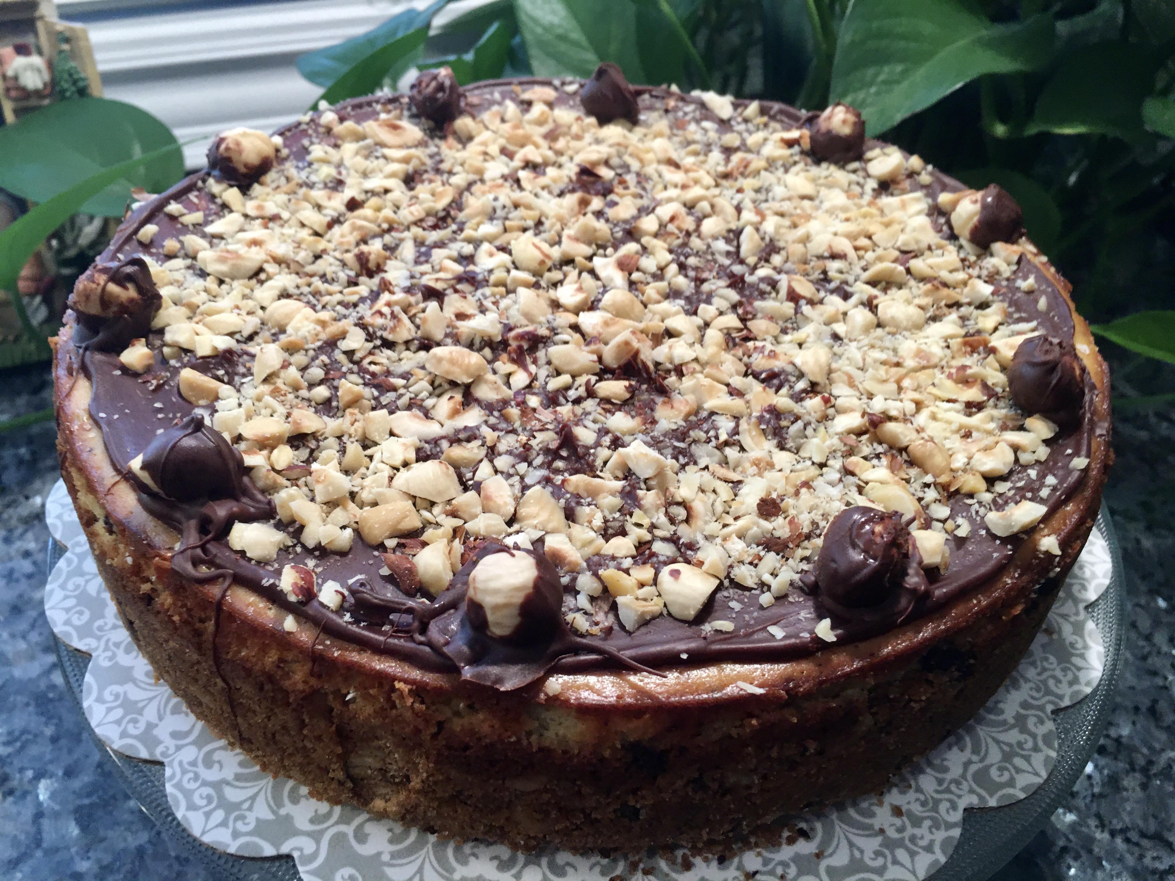 Heavenly Chipped Chocolate and Hazelnut Cheesecake