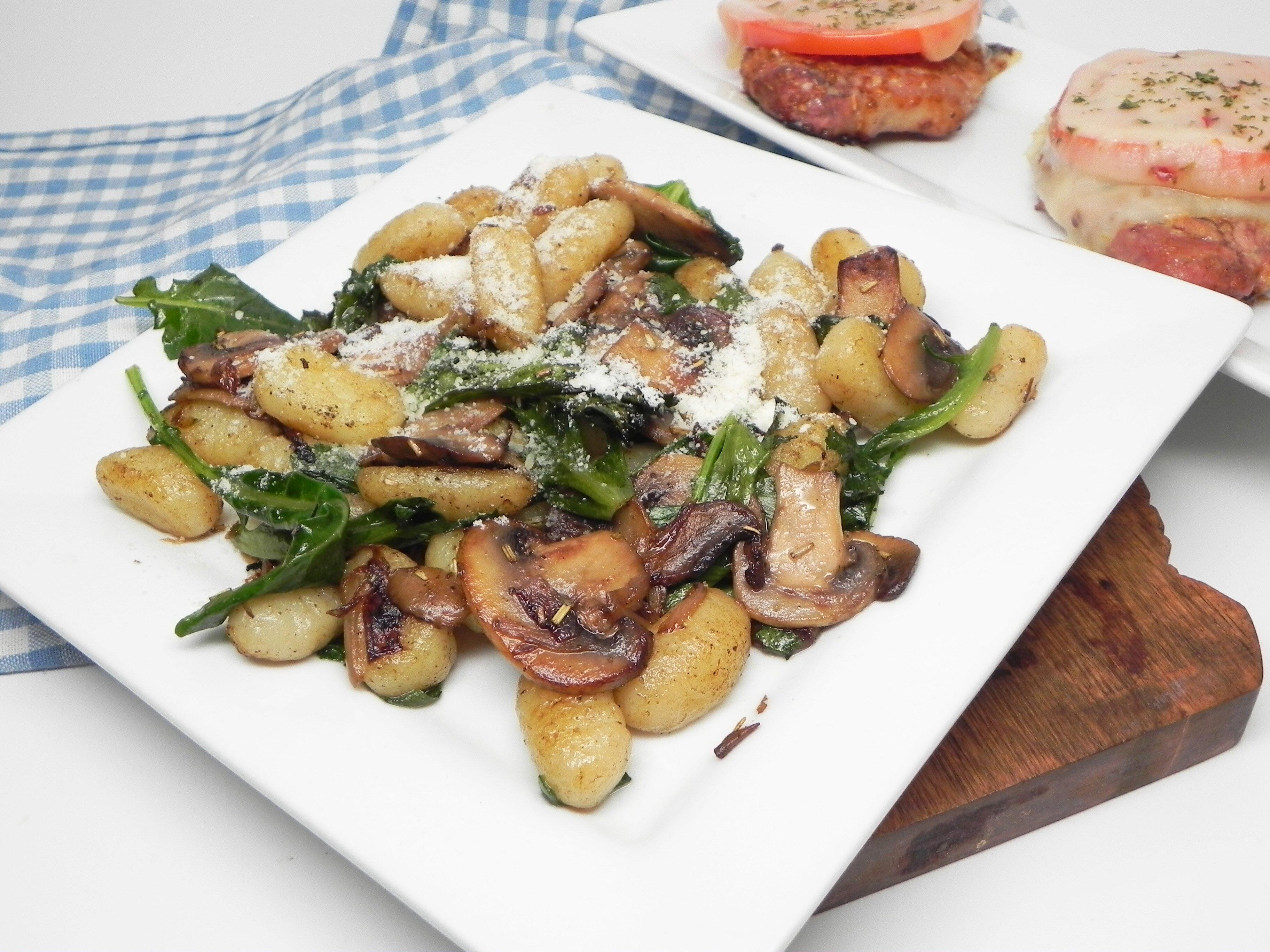 pan fried gnocchi with mushrooms and arugula recipe