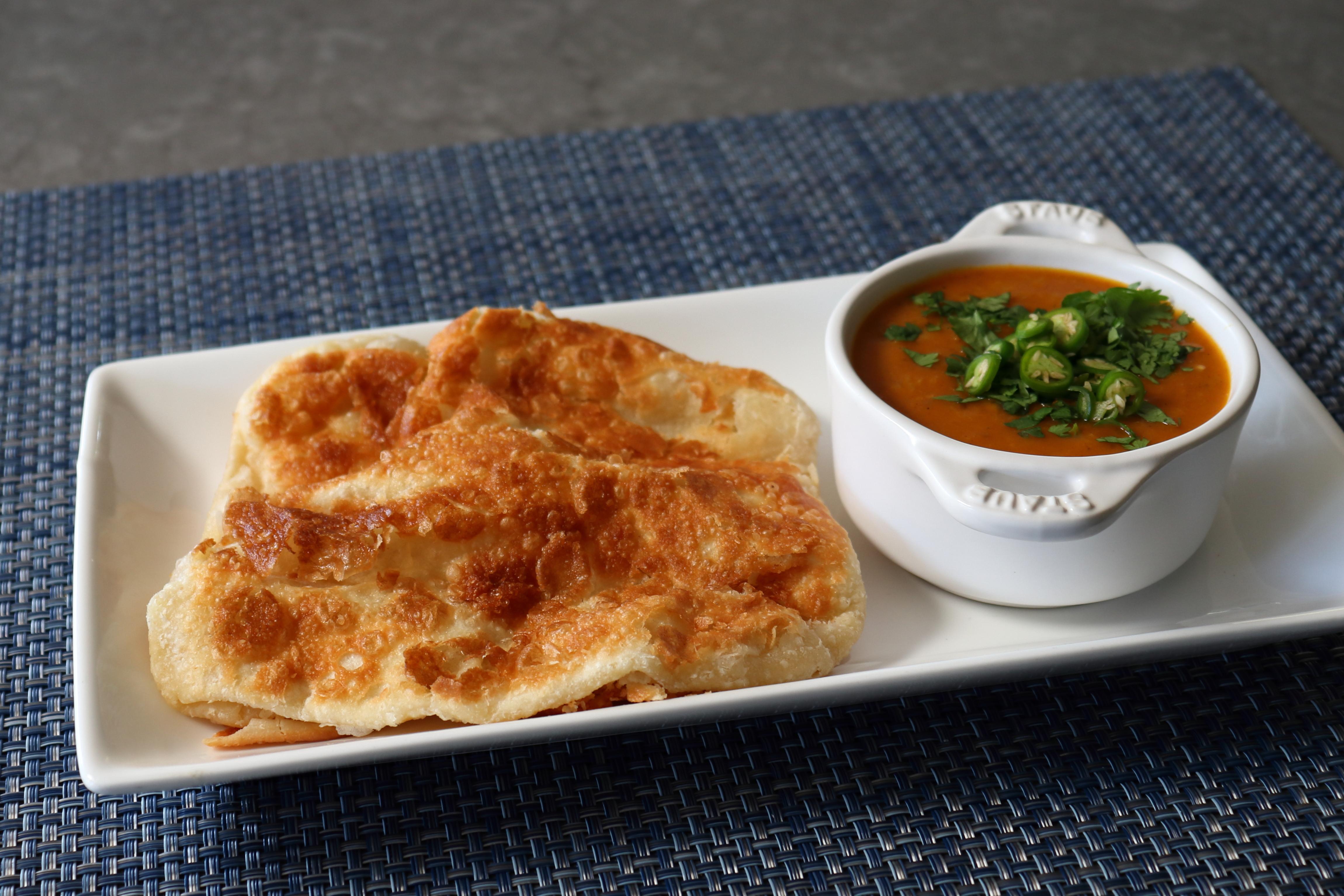 Malaysian Flatbread (Roti Canai) with Curried Lentil Dip Chef John