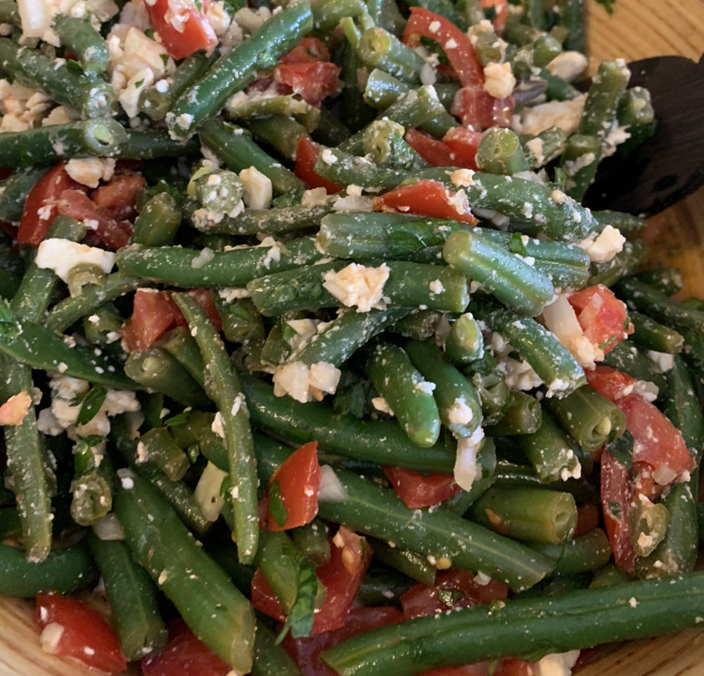 Cold Green Bean Salad with Feta and Cherry Tomatoes
