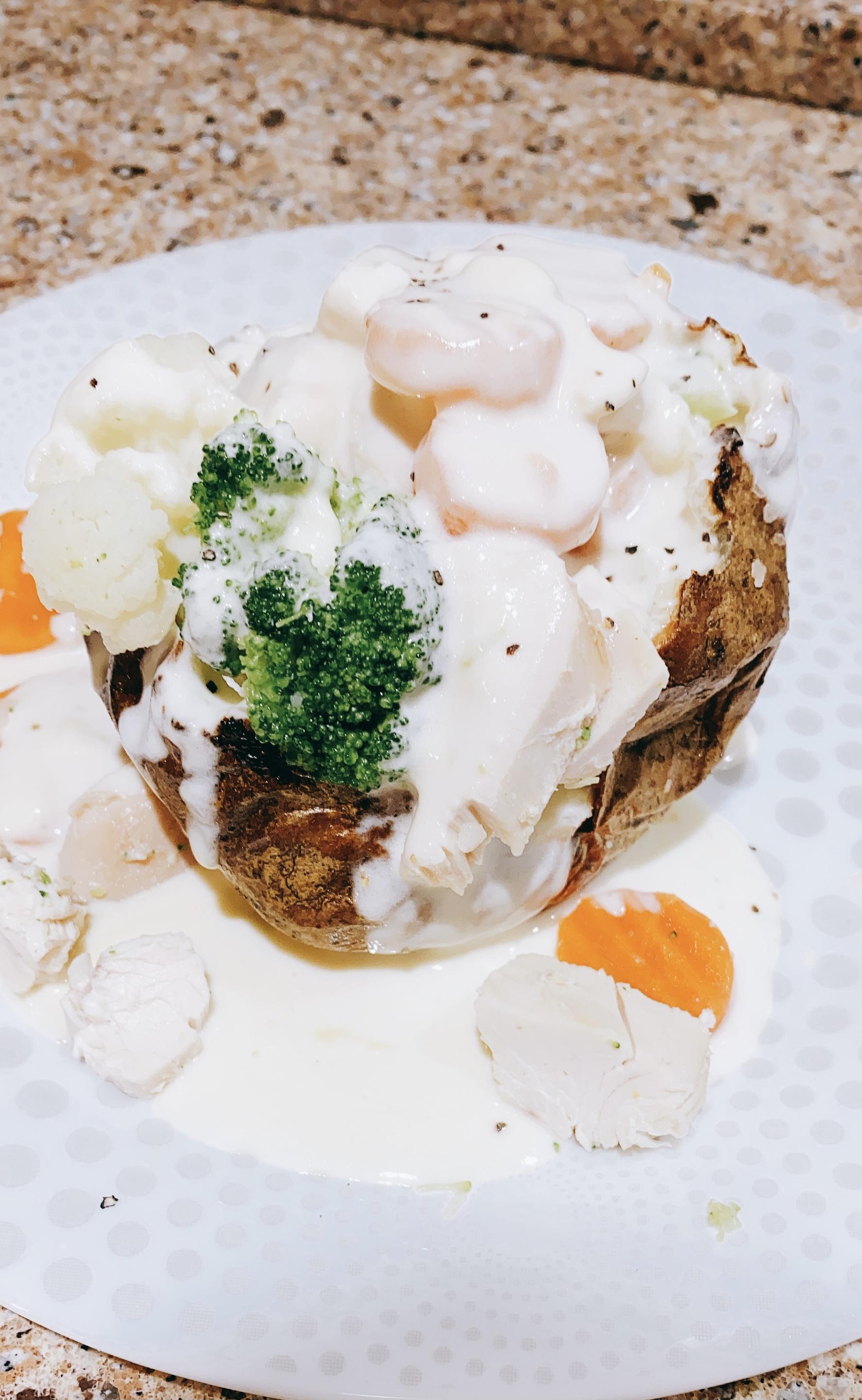 Chicken Stuffed Potatoes with Alfredo Sauce