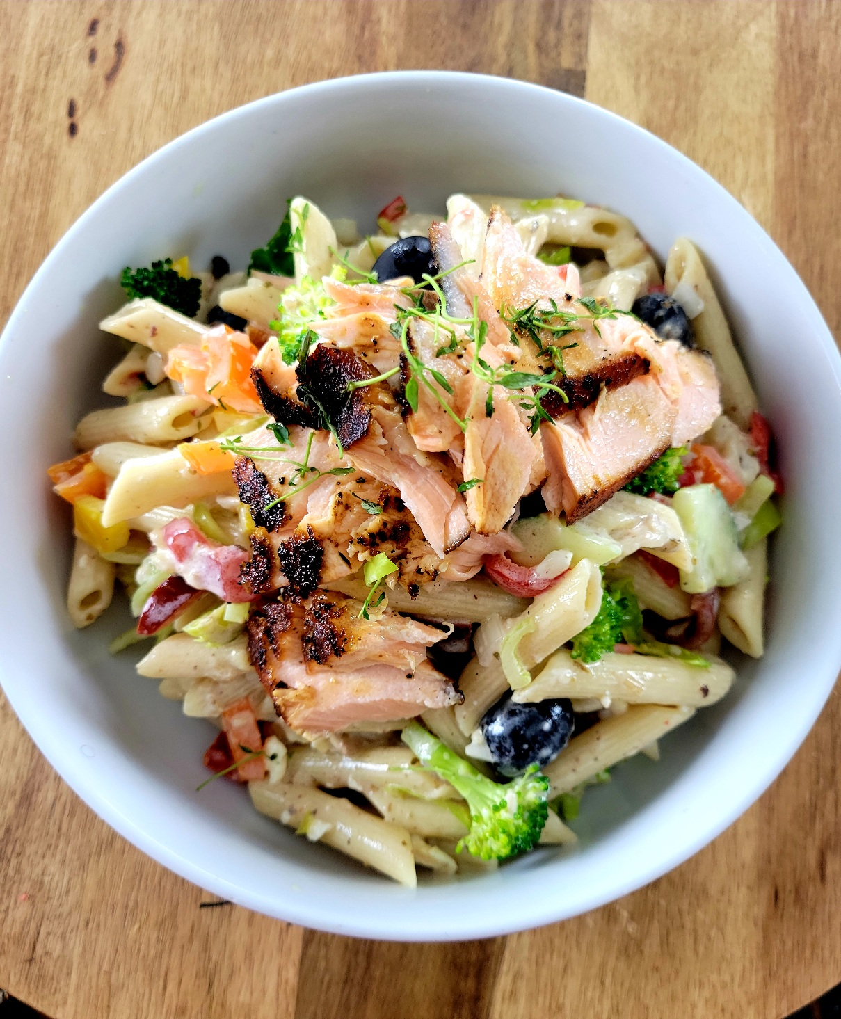 Blackened Salmon Pasta Salad