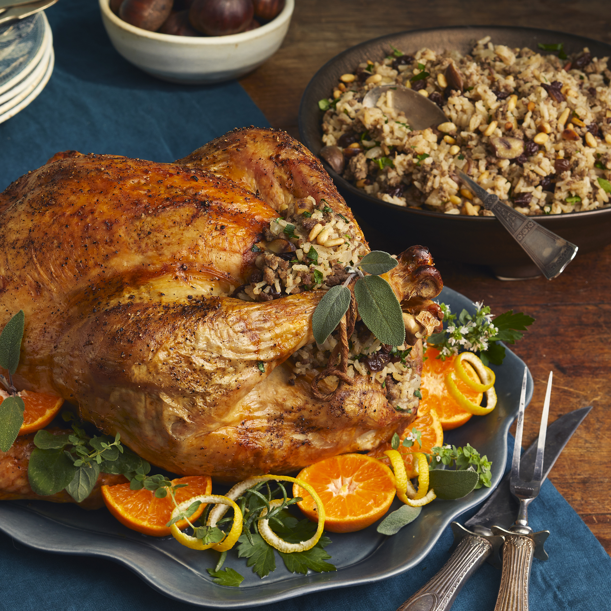 Greek Traditional Turkey with Chestnut and Pine Nut Stuffing Trusted Brands