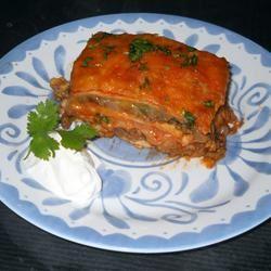 Mexican Lasagna - No Lasagna Noodles! almondmoose