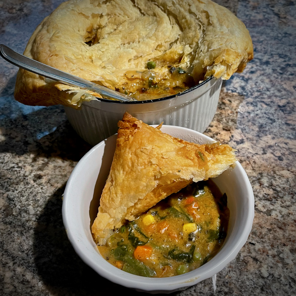 Vegetarian Pot Pie with Puff Pastry Crust