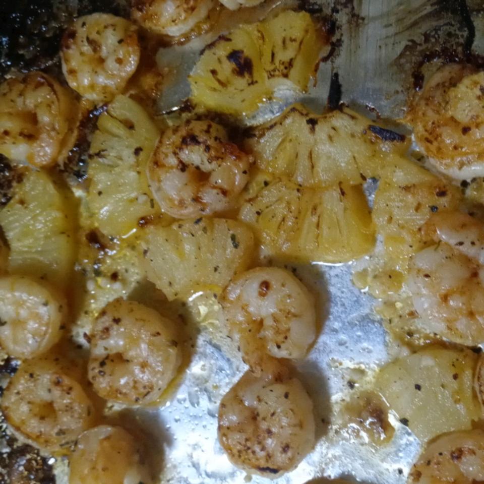 Broiled Lemon and Garlic Tiger Prawns
