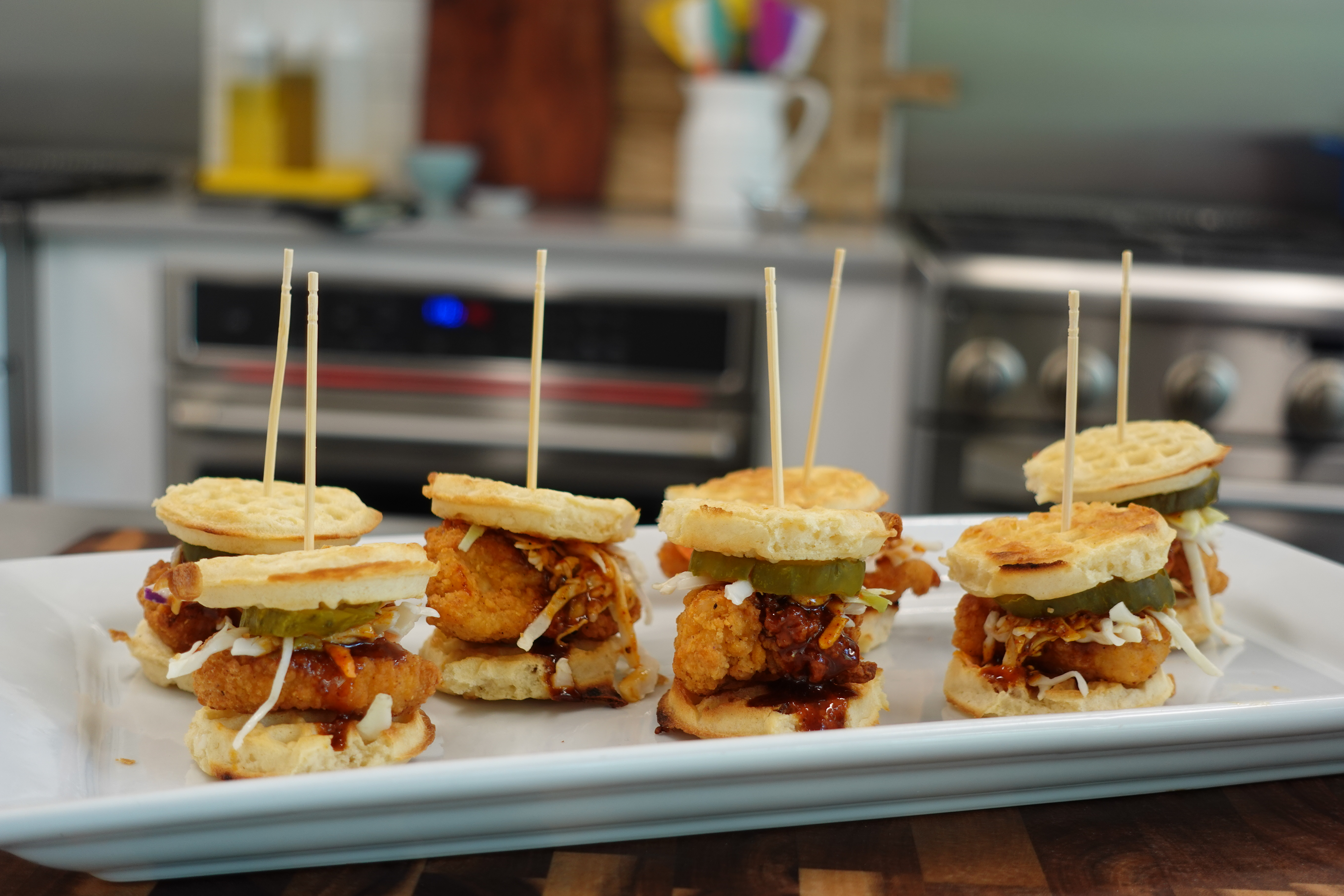 Mini Hot Chicken and Waffle Sliders