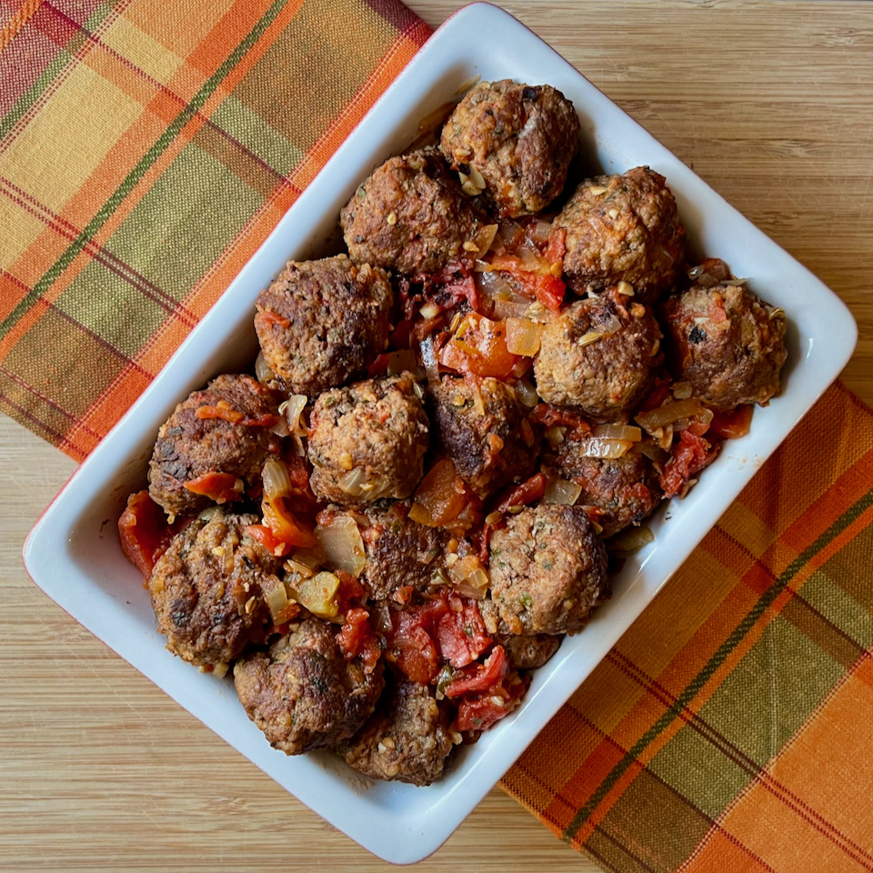 Bison Meatballs with Tomatoes and Herbs