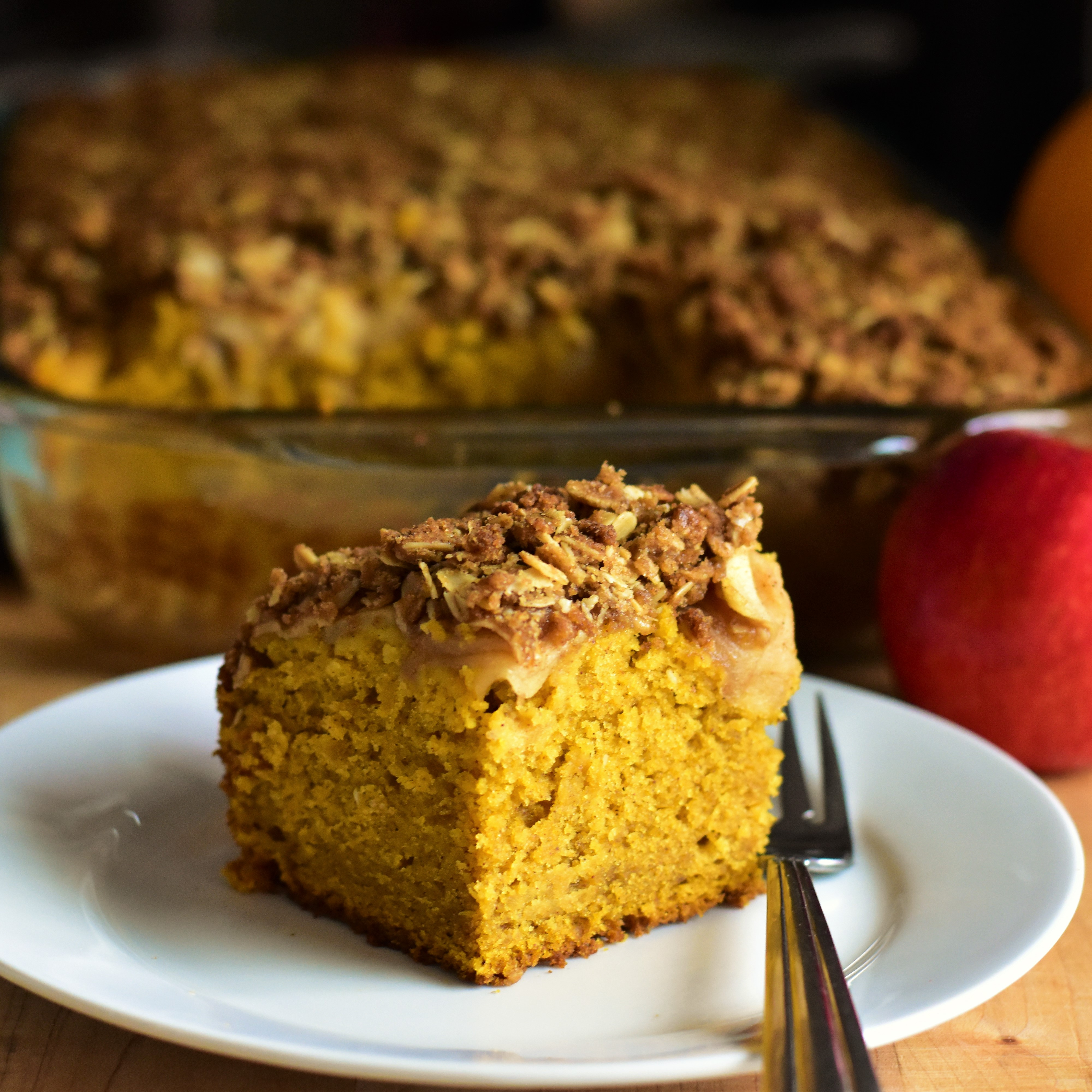 Pumpkin Cake with Apple Crisp Topping