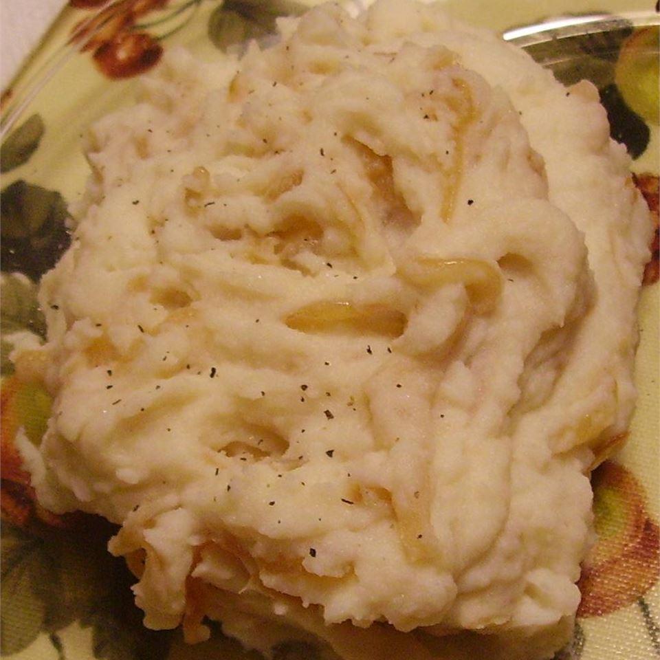 Caramelized Onion and Horseradish Smashed Potatoes