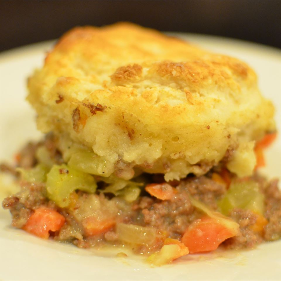 Retro Ground Beef Casserole with Biscuits