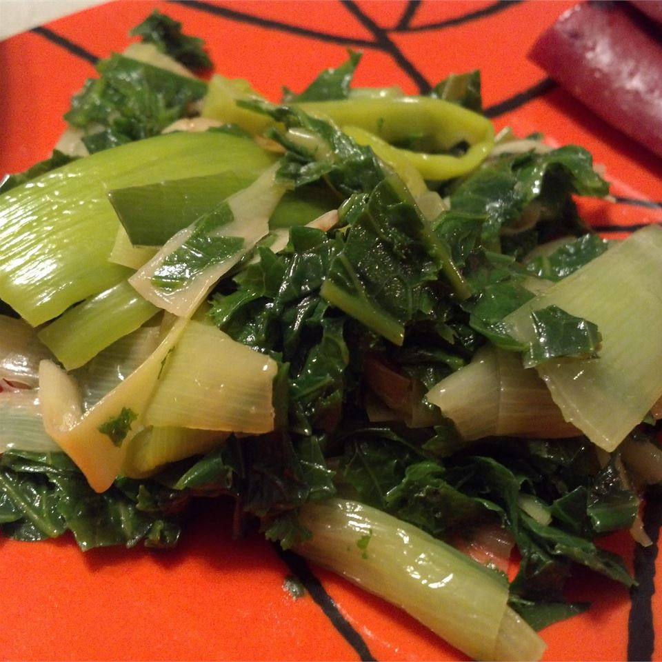 Braised Leeks and Mustard Greens