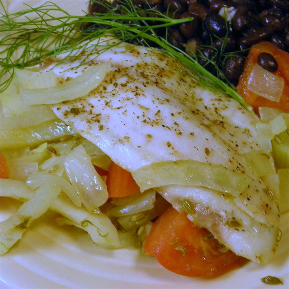 """Here's a Mediterranean-style poached whitefish recipe that's paleo-friendly, too! Chris Denzer recommends """"any firm, white-fleshed fish, like halibut or cod."""""""