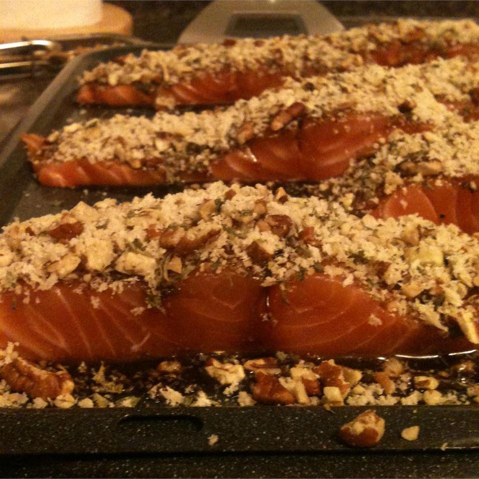 Glazed Pecan-Crusted Baked Salmon
