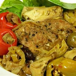 Spicy Mediterranean Chicken with Sausage-Stuffed Cherry Peppers