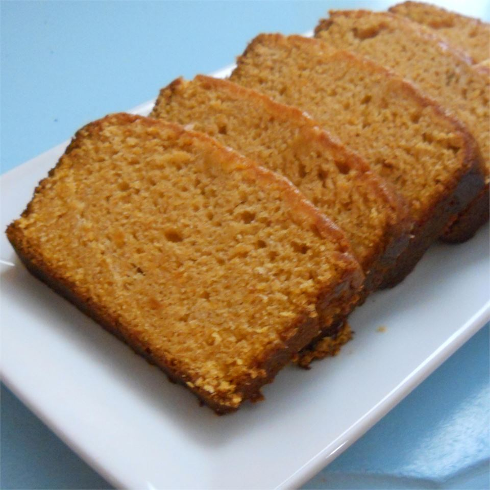 """This moist, fragrant sweet potato and pecan quick bread is packed with warm spices and is a tasty way to use up mashed sweet potato. """"Delicious!"""" says reviewer Maggie. """"I had some cranberries on hand so I folded them into the batter. Makes a great breakfast bread!"""""""