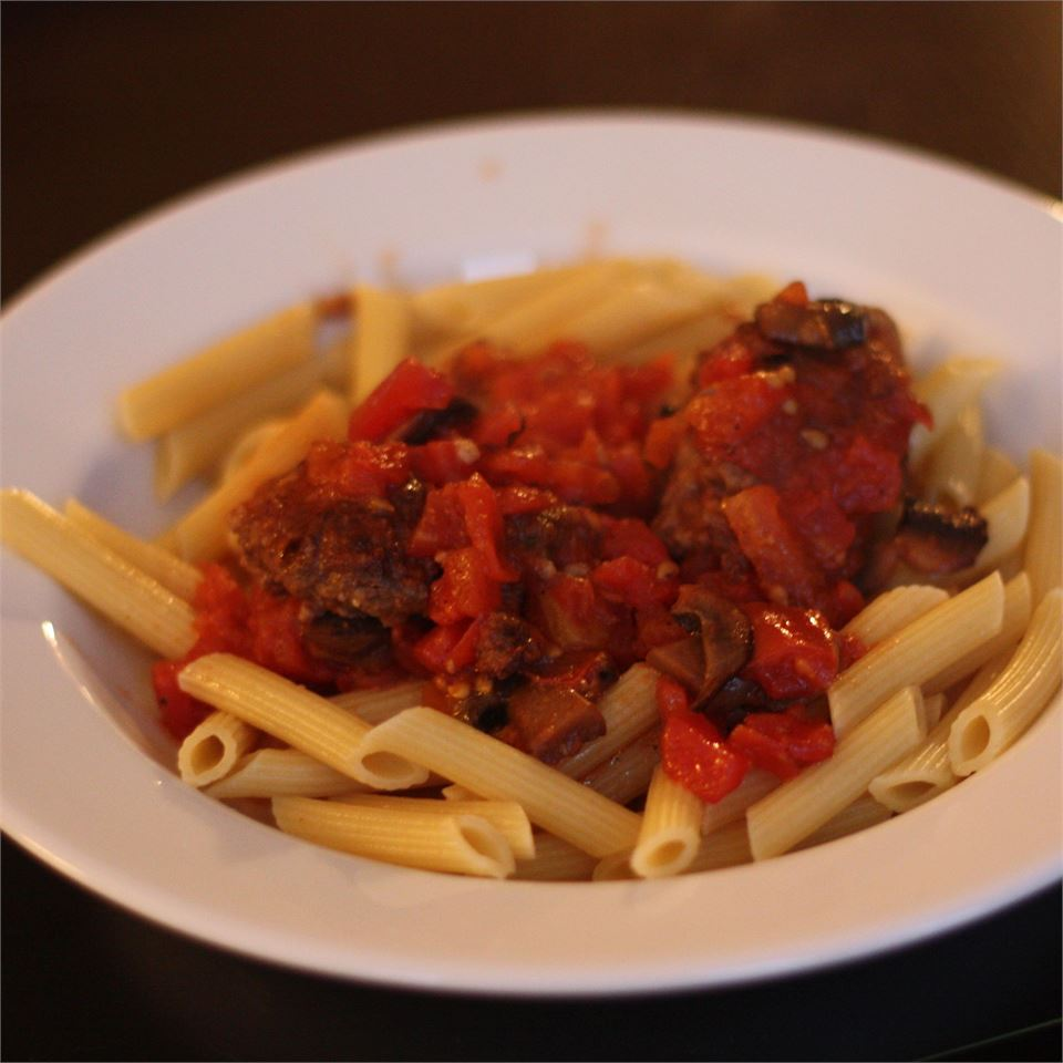 Penne and Meatballs All'Arrabbiata