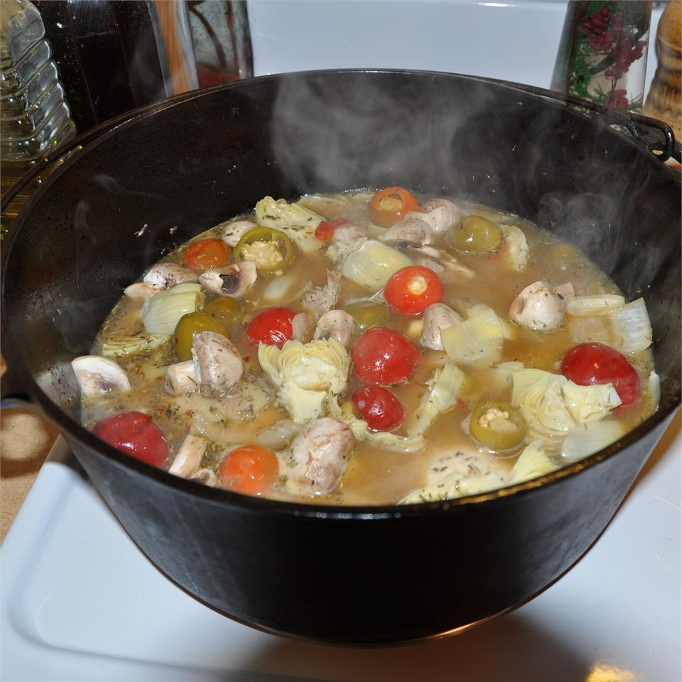 Braised Chicken and Artichoke Hearts with Lemon, Cherry Peppers and Thyme aputler