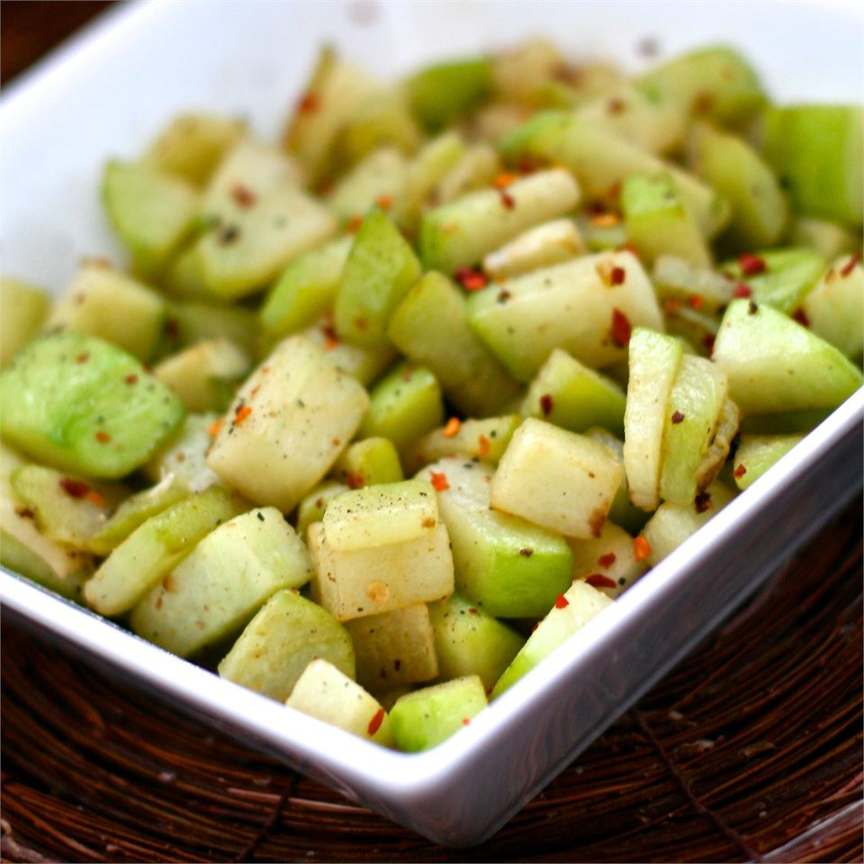 Chayote Squash With Red Peppers and Ginger