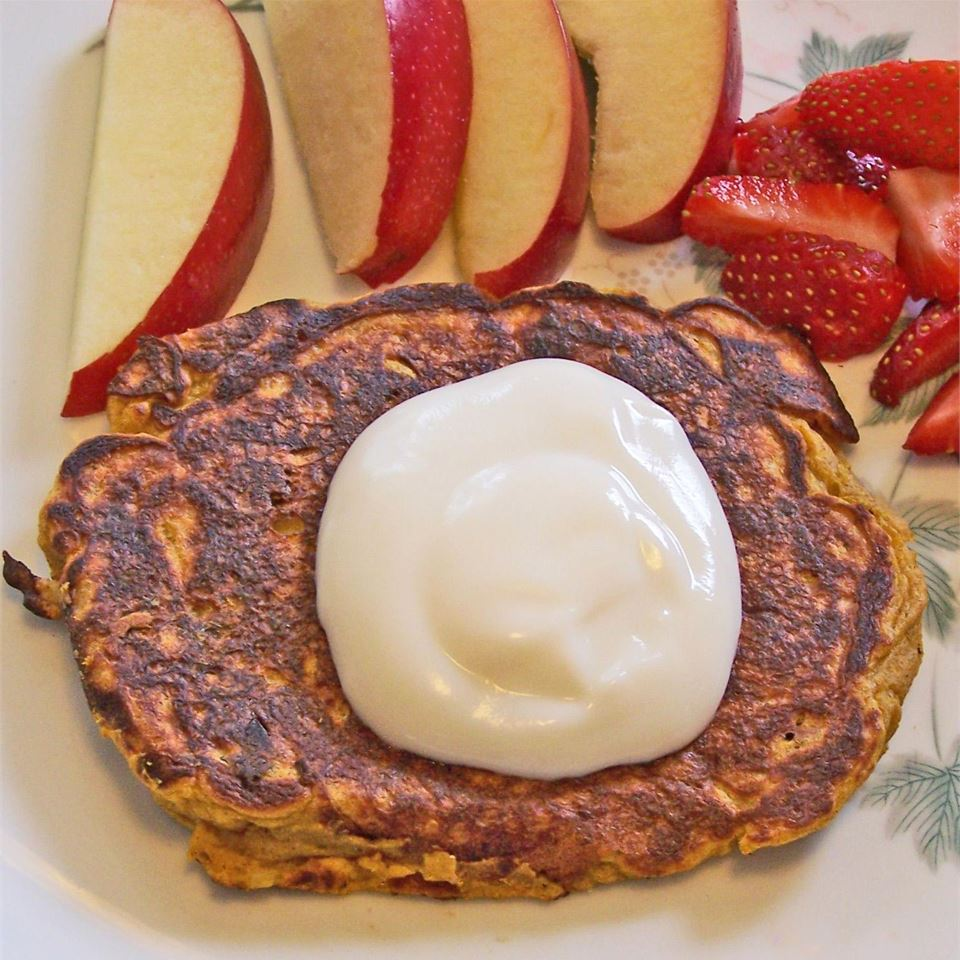 "If you prefer your breakfast on the savory side, these pancakes pack a fall flavor punch without all the sugar. ""They are not meant to be sweet, although the squash has it's own sweetness. The dried shallots add a subtle background flavor and are not at all obvious,"" says recipe creator Josie Adams. ""No one will have a clue that they are eating squash, so it's a good way to get nutrients into those picky eaters."""