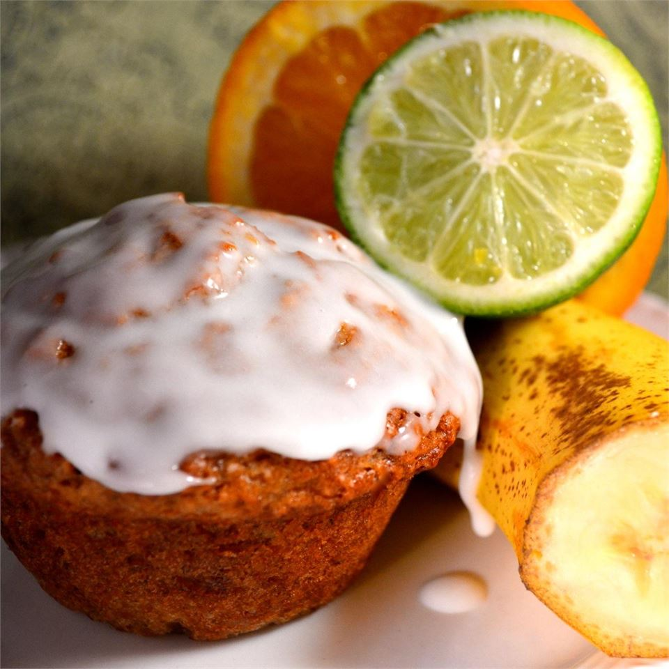 Banana Mango Muffins with Lime Glaze