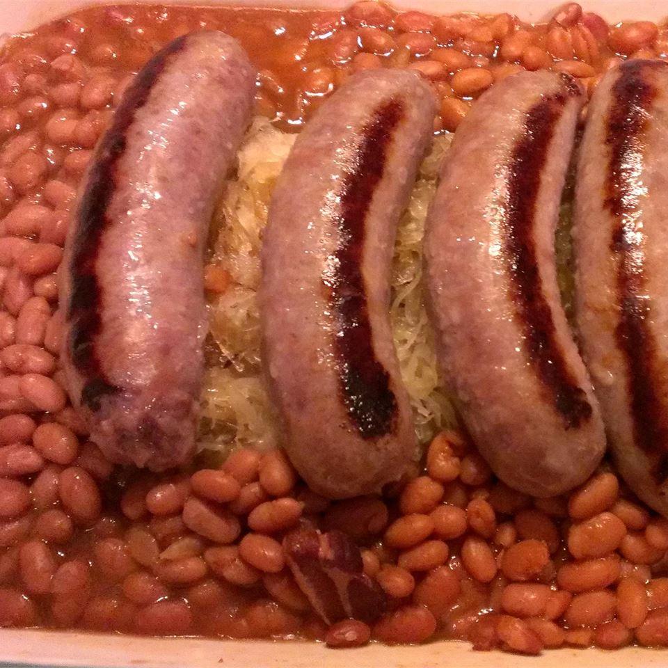 Bratwurst, Sauerkraut and Bean Casserole Tracy Abrahamson