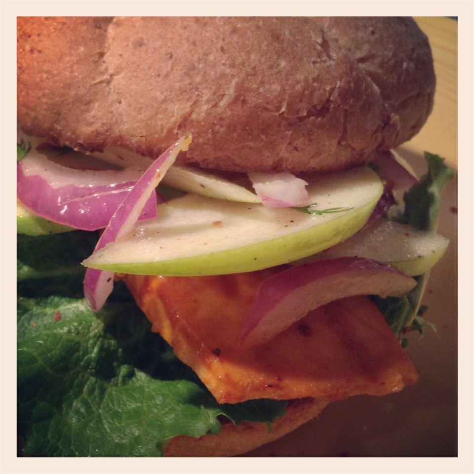 Grilled Salmon Sandwich with Green Apple Slaw Malkin