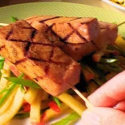 Grilled Ham Steak Kabobs with Peach Slaw