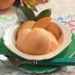 Peach Sorbet in the Ice Cream Maker