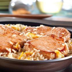 Quick Glazed Pork and Rice Skillet