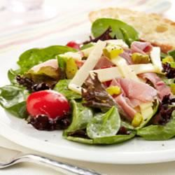 Ham, Garden Vegetable and Spring Mix Salad with Swiss Cheese Trusted Brands