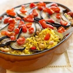 vegetarian oven baked brown and wild rice with eggplant
