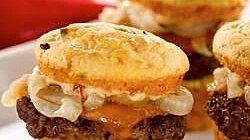 Bacon and Gorgonzola Cornbread Sliders with Chipotle Mayo