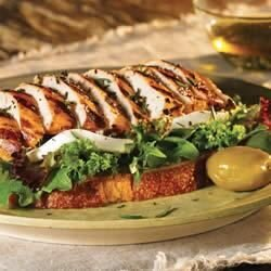 open faced grilled tuscan chicken sandwiches with fresh