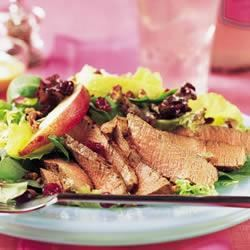 Tenderloin, Cranberry and Pear Salad with Honey Mustard Dressing Trusted Brands