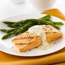 Salmon with Mustard-Cream Sauce