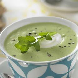 Creamy Edamame Arugula Soup