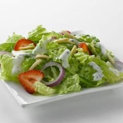 strawberry romaine salad and creamy poppy seed dressing with