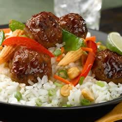 Basmati and Snow Pea Stir Fry with Teriyaki Chicken Meatballs