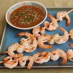 Sake Shrimp Skewers with Citrus-Sake Dipping Sauce