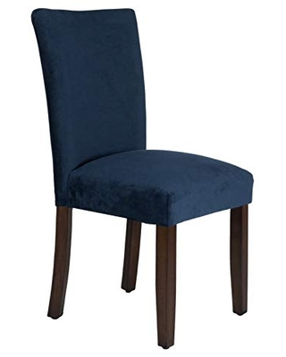 Velvet Upholstered Parsons Dining Chair with Wooden Legs Two - benjara