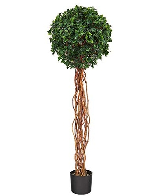 5ft English Ivy Single Ball Artificial Topiary Tree with Natural Trunk UV Resistant Indoor Outdoor - nearly natural