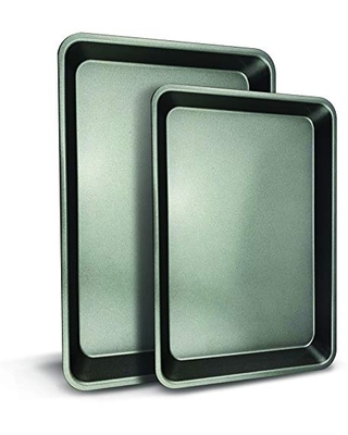 Nonstick Cookie Sheet Baking Pan 2 Pc Professional Quality Kitchen Cooking Non Stick Bake Trays with Coating Inside & Outside Dishwasher Safe PFOA PFOS PTFE Free One Size - nutrichef