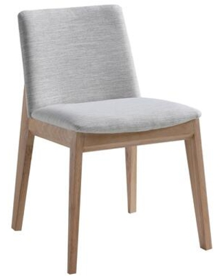 Deco Collection BC 1086 29 Dining Chair with Mid Height Backrest Angled Seat Solid Oak Frame and Polyester Fabric Upholstery in Light - moes home collection