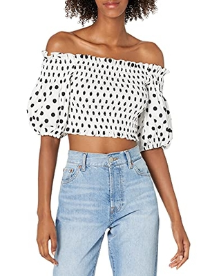 Women's Cropped Top with Off The Shoulder Poof Sleeves - bcbgmaxazria