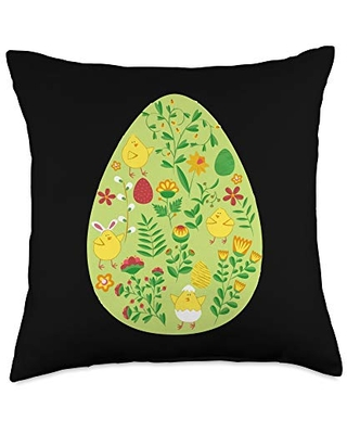 Egg Hen Chicken Easter Day 2021 Throw Pillow 18x18 - zone - 365 rabbit bunny easter day