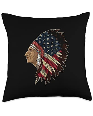 Native American Feather 4th of July US Flag Throw Pillow 18x18 - holiday 365
