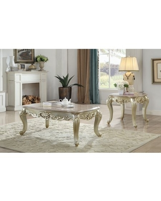 Acme Gorsedd Coffee Table in Marble and Antique - acme furniture
