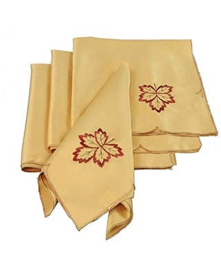 Bountiful Leaf Embroidered Cutwork Harvest Fall Napkins 21 by 21 Inch - xia home fashions