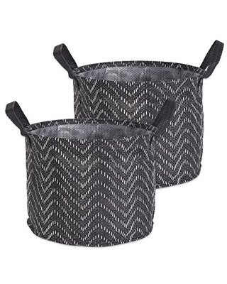 Woven Paper Round Laundry Basket Collapsible Waterproof Medium - dii